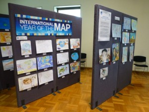 Entries on display from the Barbara Petchenik Children's World Map Competition